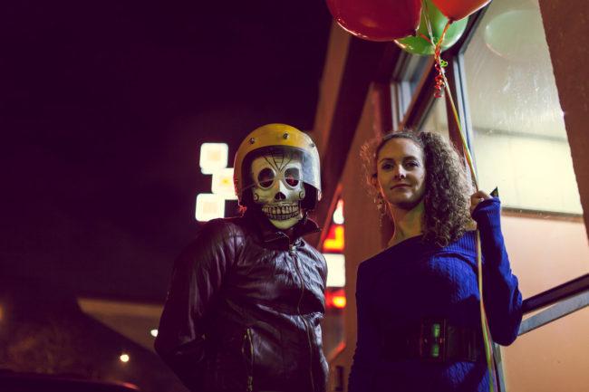 Frank Aberdean and Tammy by Mako Miyamoto skull skeleton horror killer red day of the dead superhero leather badass balloons