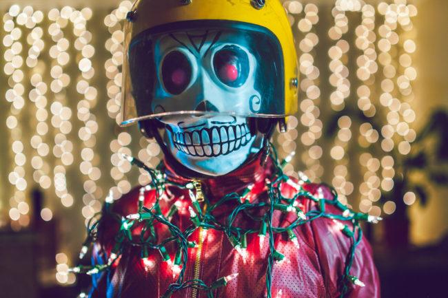 Frank Aberdean Happy New Years! Mako Miyamoto skull skeleton horror killer red day of the dead superhero leather badass lights celebrate christmas new years light