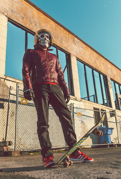 Frank Aberdean Shredding through the East Side by Mako Miyamoto skull skeleton horror killer red day of the dead superhero leather badass skate skating graffiti trick