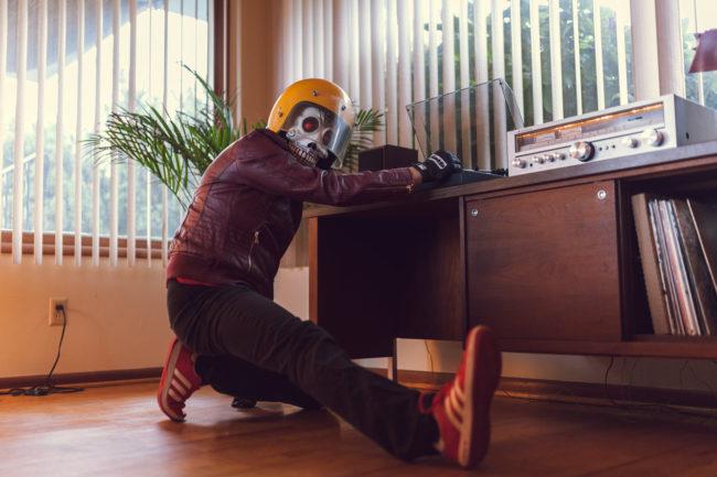 Frank Aberdean Vinyl by Mako Miyamoto skull skeleton horror killer red day of the dead superhero leather badass visor records vinyl