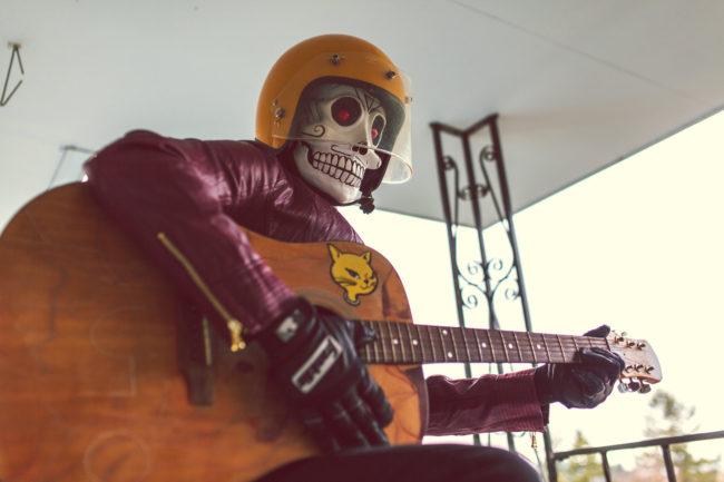 Frank Aberdean Serenade by Mako Miyamoto skull skeleton horror killer red day of the dead superhero leather badass visor guitar cat
