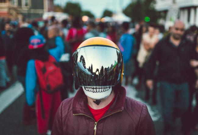 Frank Aberdean by Mako Miyamoto skull skeleton horror killer red day of the dead superhero leather badass visor