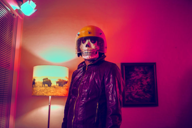 Frank Aberdean by Mako Miyamoto skull skeleton horror killer red day of the dead superhero leather badass visor