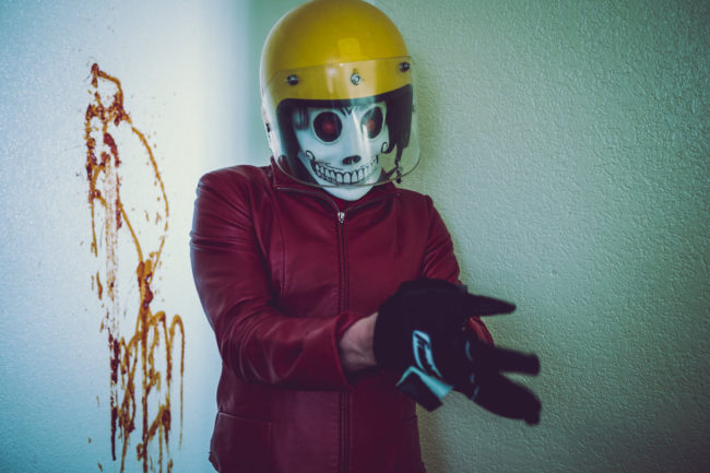 Frank Aberdean by Mako Miyamoto skull skeleton horror killer red day of the dead superhero leather badass