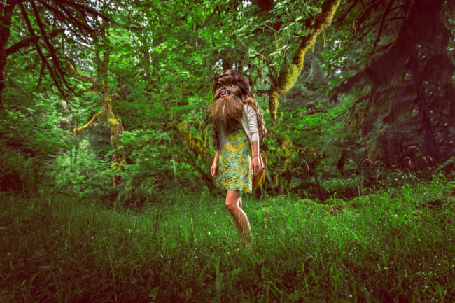 Patterson Gimlin Photograph by Mako Miyamoto. Wookie girl walking in the Hoh Rainforest on the Olympic Peninsula in Washington