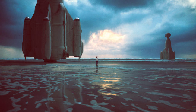 The Coast III Photograph by Mako Miyamoto. Girl walking on the oregon coast with a crashed spaceship in the sand in the background. Created for the series Further West shown at Stephanie Chefas Gallery in Portland, OR