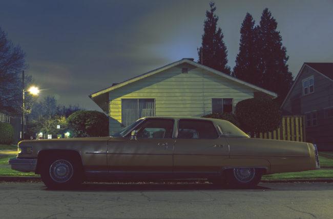 72 Cadillac Fleetwood by Mako Miyamoto Travel and Lifestyle Photography car caddy drive driving night