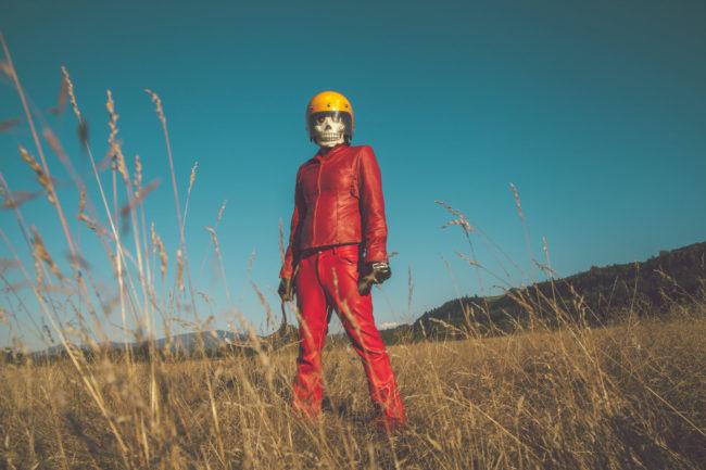 Frank Aberdean by Mako Miyamoto skull skeleton horror killer red day of the dead superhero leather badass