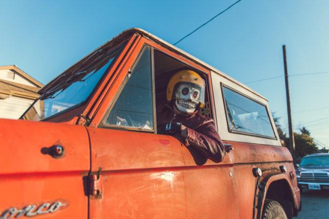 Frank Aberdean The Bronco Mako Miyamoto skull skeleton horror killer red day of the dead superhero leather badass truck 70s