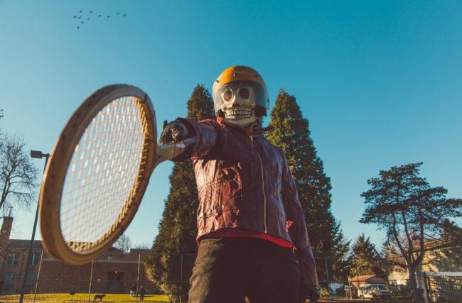 Frank Aberdean Kiss My Ace by Mako Miyamoto skull skeleton horror killer red day of the dead superhero leather badass tennis racket ball