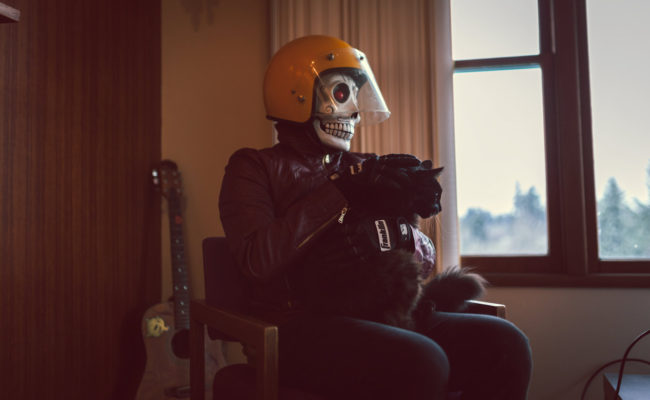 Frank Aberdean Sunday Funday by Mako Miyamoto skull skeleton horror killer red day of the dead superhero leather badass visor cat