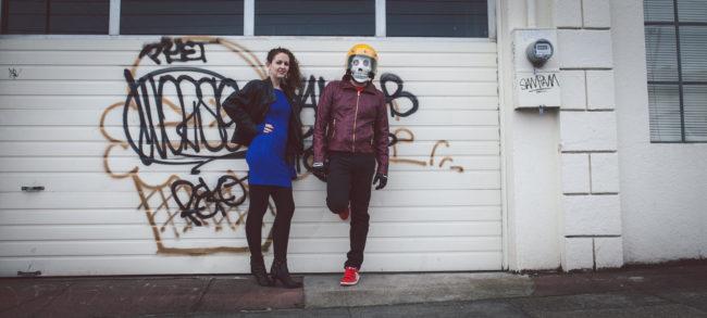 Frank Aberdean and Tammy by Mako Miyamoto skull skeleton horror killer red day of the dead superhero leather badass visor graffiti