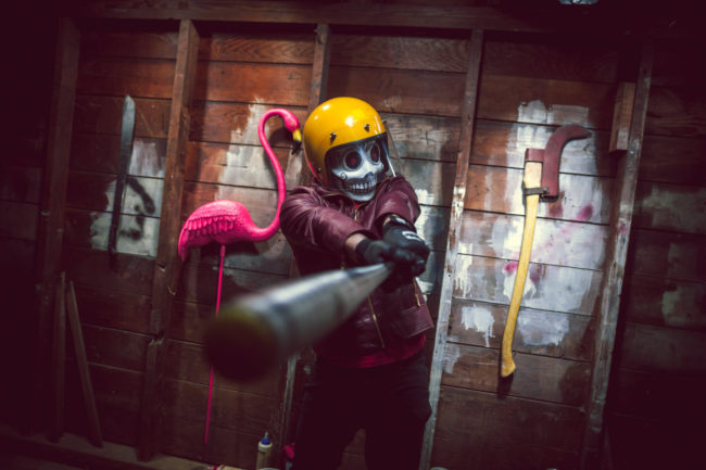 Frank Aberdean's Weapons by Mako Miyamoto skull skeleton horror killer red day of the dead superhero leather badass visor bat