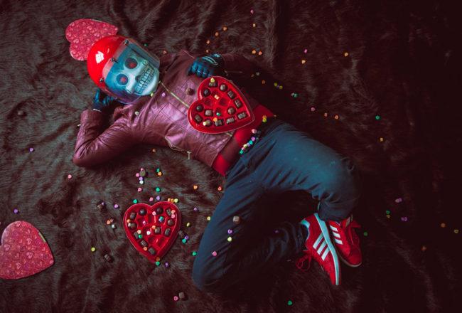 Frank Aberdean Happy Valentine's Day by Mako Miyamoto skull skeleton horror killer red day of the dead superhero leather badass visor happy valentines red love heart sexy