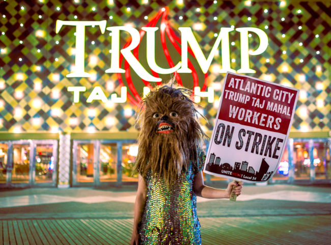 Atlantic City Photograph by Mako Miyamoto. Female wookie on strike in Atlantic City boardwalk in in front of the Trump Taj Mahal