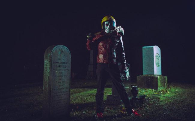 Frank Aberdean by Mako Miyamoto skull skeleton horror killer red day of the dead superhero leather badass halloween graveyard