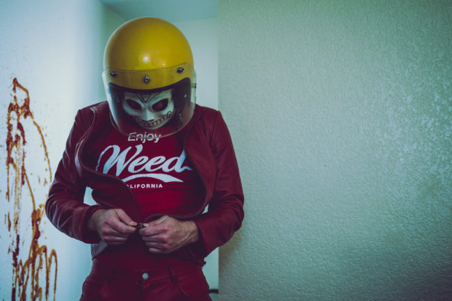 Frank Aberdean by Mako Miyamoto skull skeleton horror killer red day of the dead superhero leather badass weed