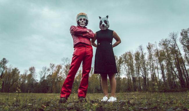 Frank Aberdean and Kiki by Mako Miyamoto skull skeleton horror killer red day of the dead superhero leather badass