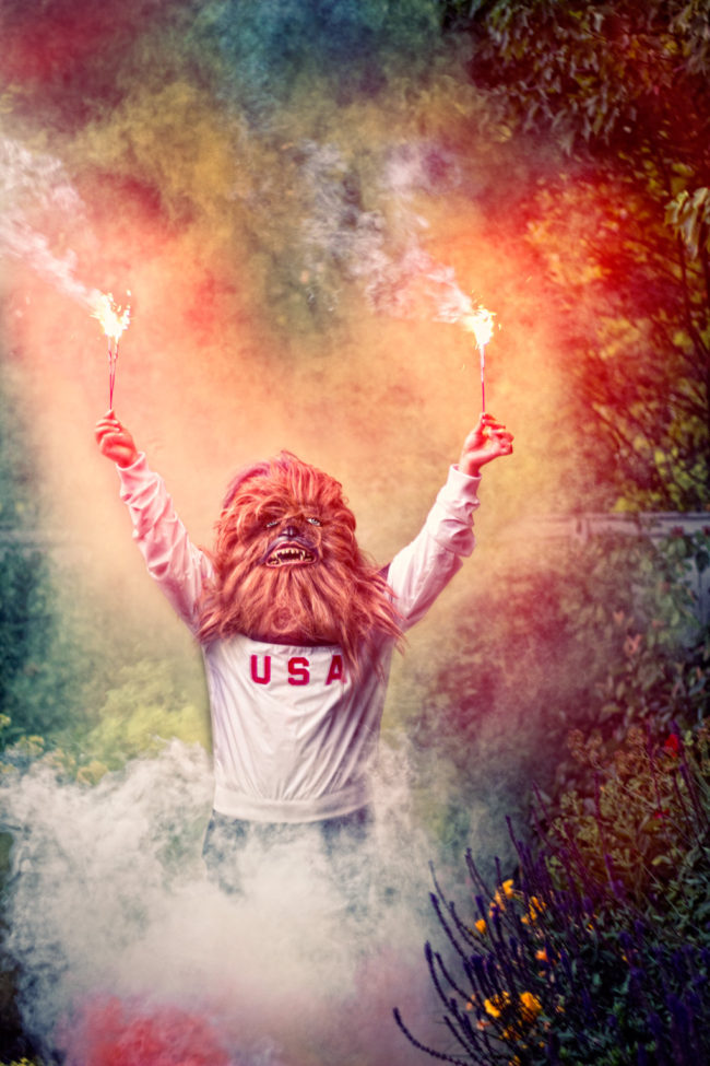 The Fourth Mako Miyamoto Photography Lifestyle Wookie Star Wars Chewbacca Chewy Bigfoot colorful sparkler patriotic usa america