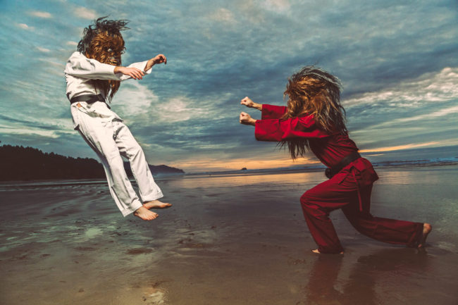 Stop Blocking my Fists with Your Face II Photograph by Mako Miyamoto. Wookie karate / kung fu showdown on the beach at sunset.